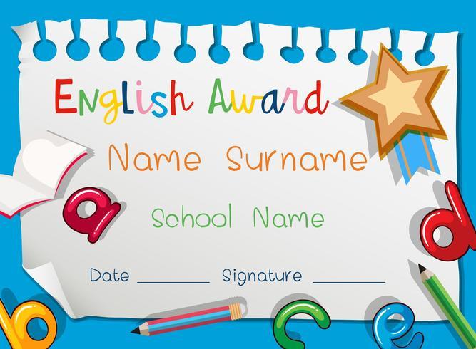 English award template on blue background