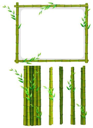 Cadre et bâtons de bambou vert