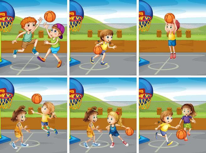 Meninos e meninas jogando basquete