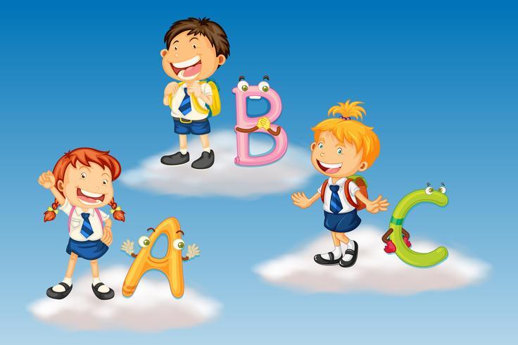 Studenten in uniform met alfabetletters