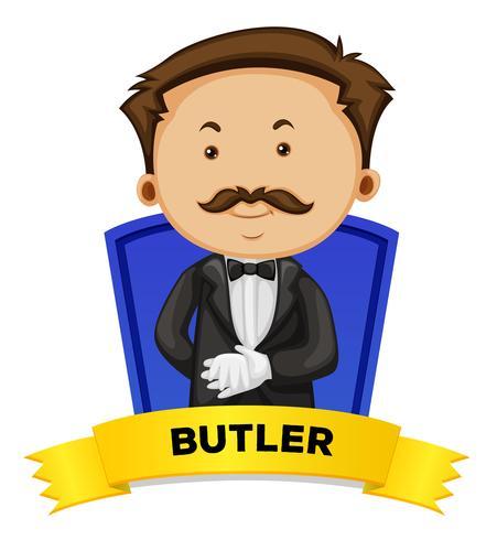Etikettdesign med manlig butler