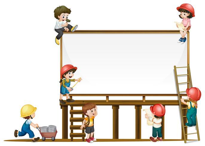Modello di bordo e bambini che lavorano alla costruzione