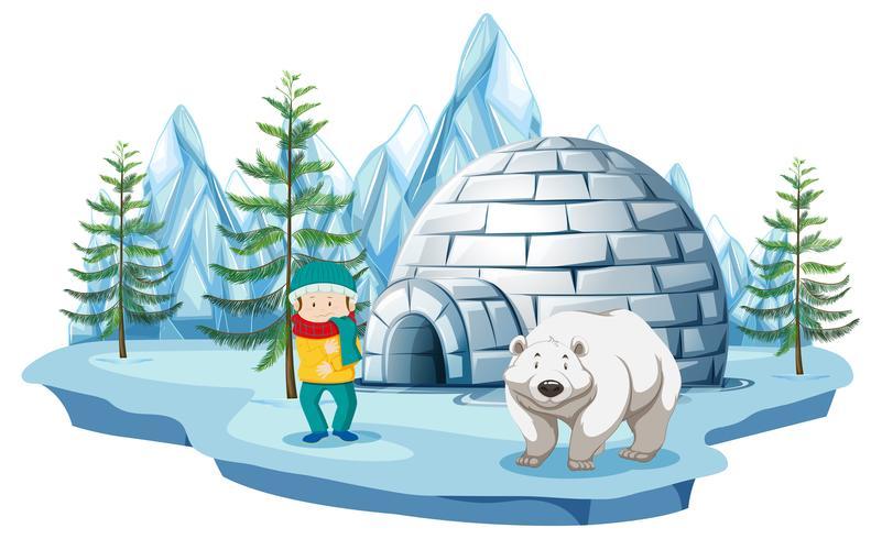 Scena artica con ragazzo e orso polare dall'igloo