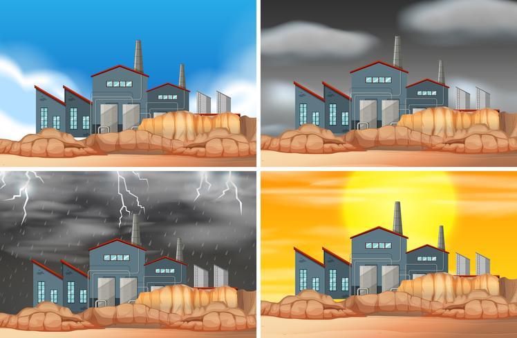 Set van industriële gebouw scènes