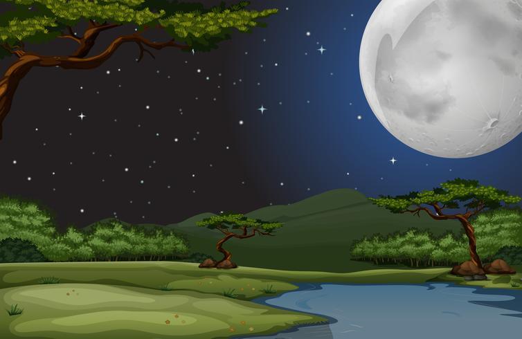 Natur scen på fullmoon natt