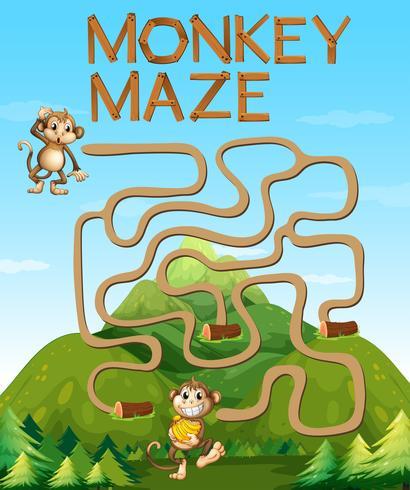 Jogo de labirinto com macacos na floresta