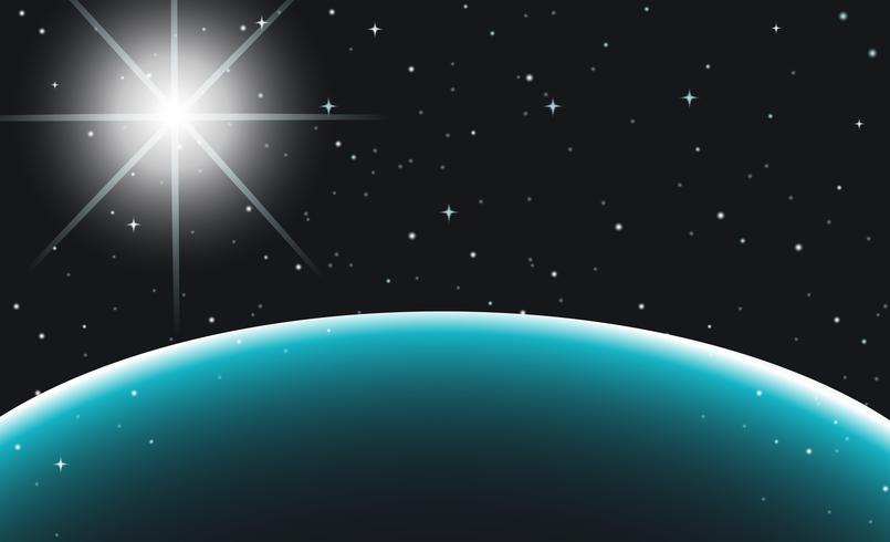 Rymdscenen med planet och stjärnor
