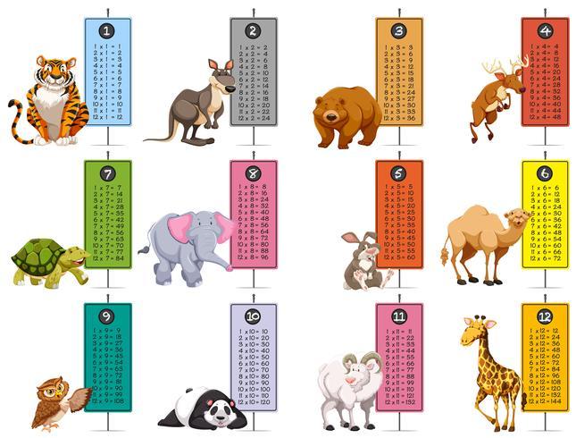 Plantilla de animales salvajes y tablas de tiempo. vector