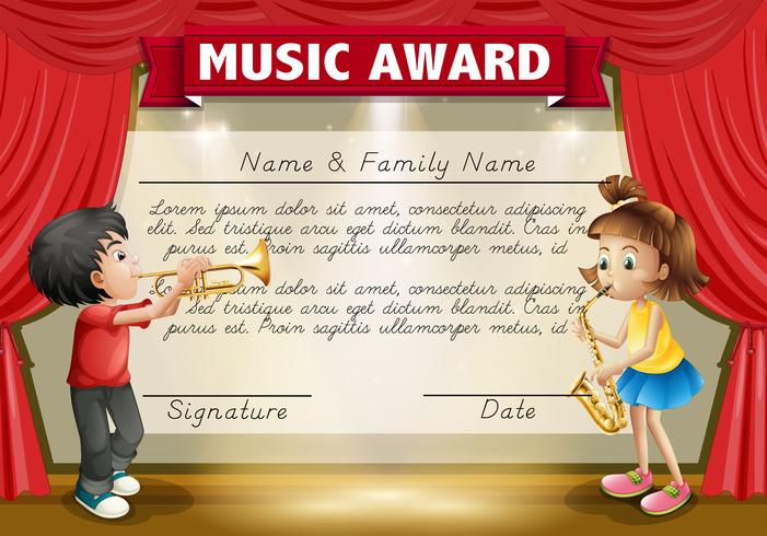 Certificate template with kids playing music on stage