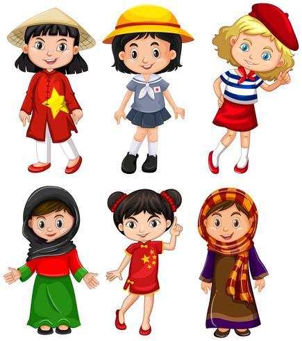 Chicas lindas de diferentes países.