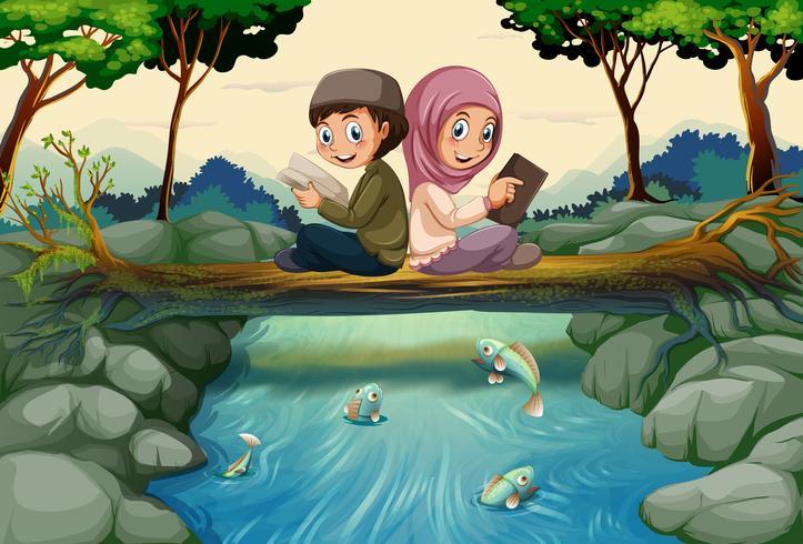 Dois, muçulmano, crianças, leitura, livros, em, floresta