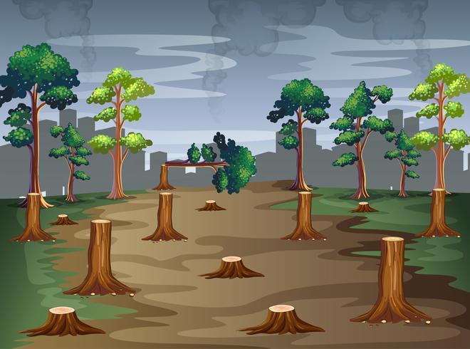 Escena con árboles siendo picados