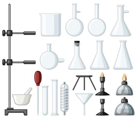 Verschillende soorten wetenschappelijke containers en branders