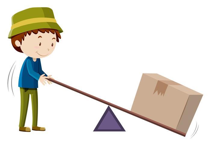 Boy lifting box with tool