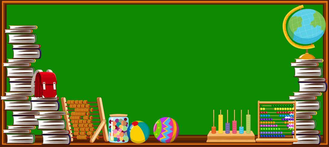 Tafel und verschiedene Schulgegenstände