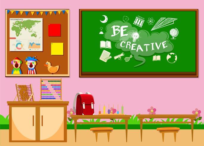 Elementärt klassrum med bord och stolar