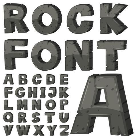 Diseño de fuentes para alfabetos ingleses con bloque de piedra.