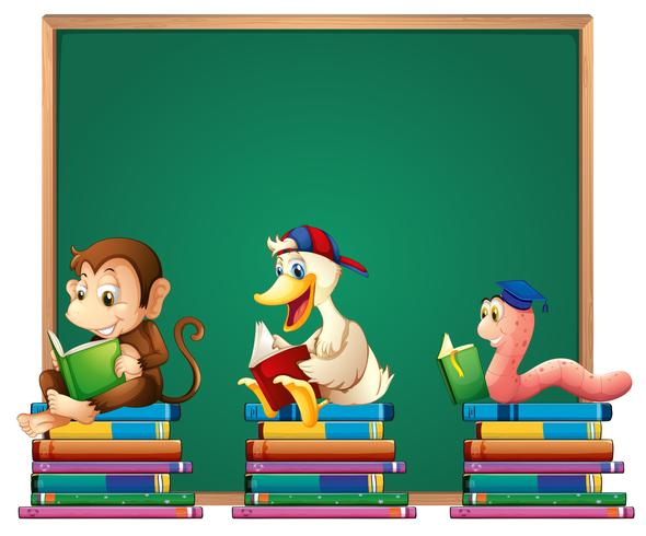 Board template with animals reading books