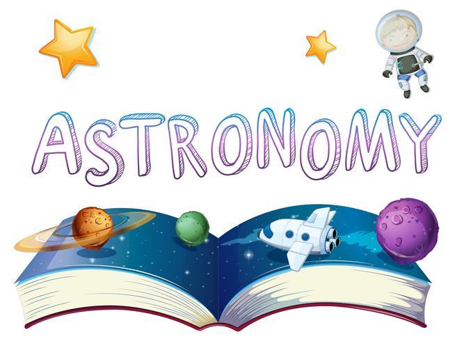 Libro de astronomia con planetas y astronauta.