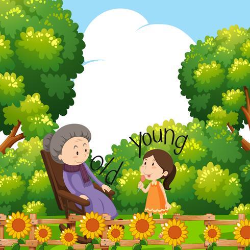 Motsatta ord för gamla och unga med mormor och barn