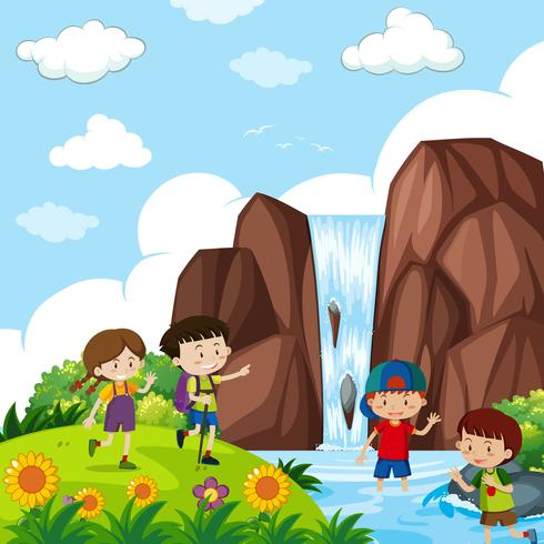 Four kids by the waterfall vector