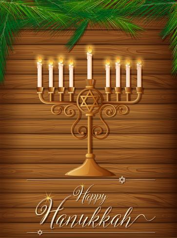 Hanukkah heureuse avec des bougies et des pins vecteur