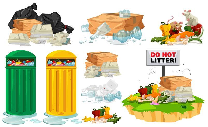 Spazzatura sul pavimento e bidoni della spazzatura vettore