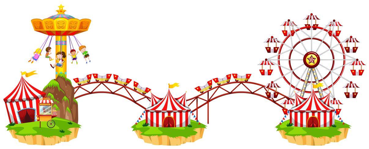 Circus scen med många åkattraktioner