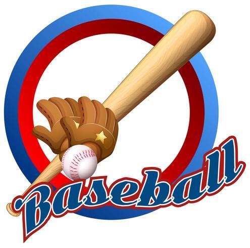 Etikettdesign med baseball och slagträ
