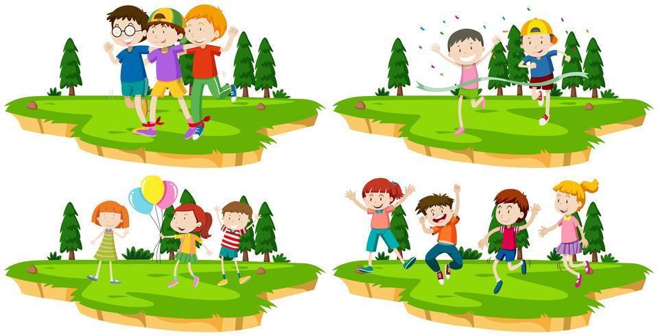 Fyra scener av barn som spelar spel i parken