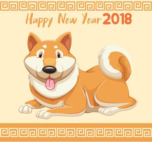 Nieuwjaarskaart met schattige hond voor 2018