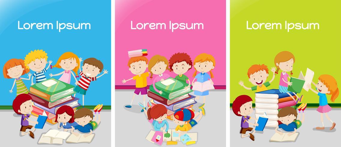 Trois salles de classe avec des étudiants en apprentissage