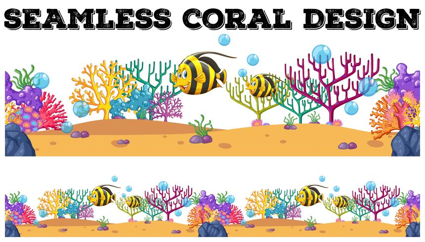 Sömlösa korallrev och fisk under vatten