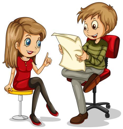 Man och kvinna sitter på stol