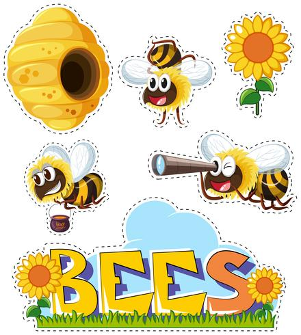 Autocollant fixé pour les abeilles et la ruche