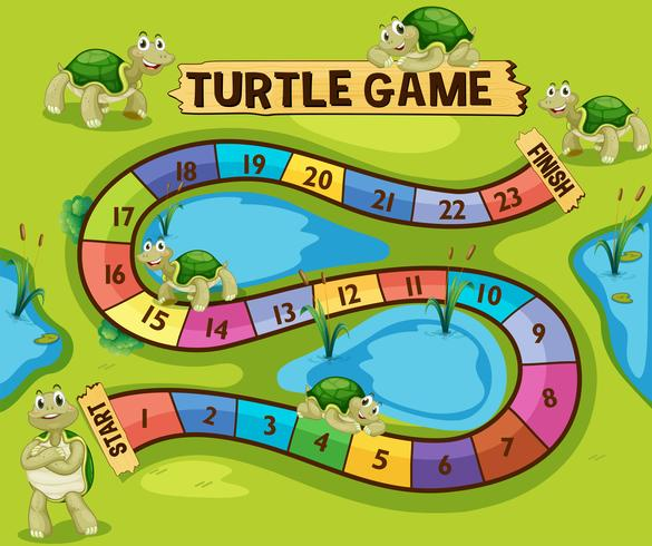 Boardgame template with turtles in the pond