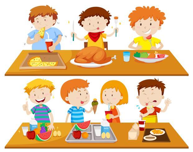 Persone che mangiano diversi tipi di cibo
