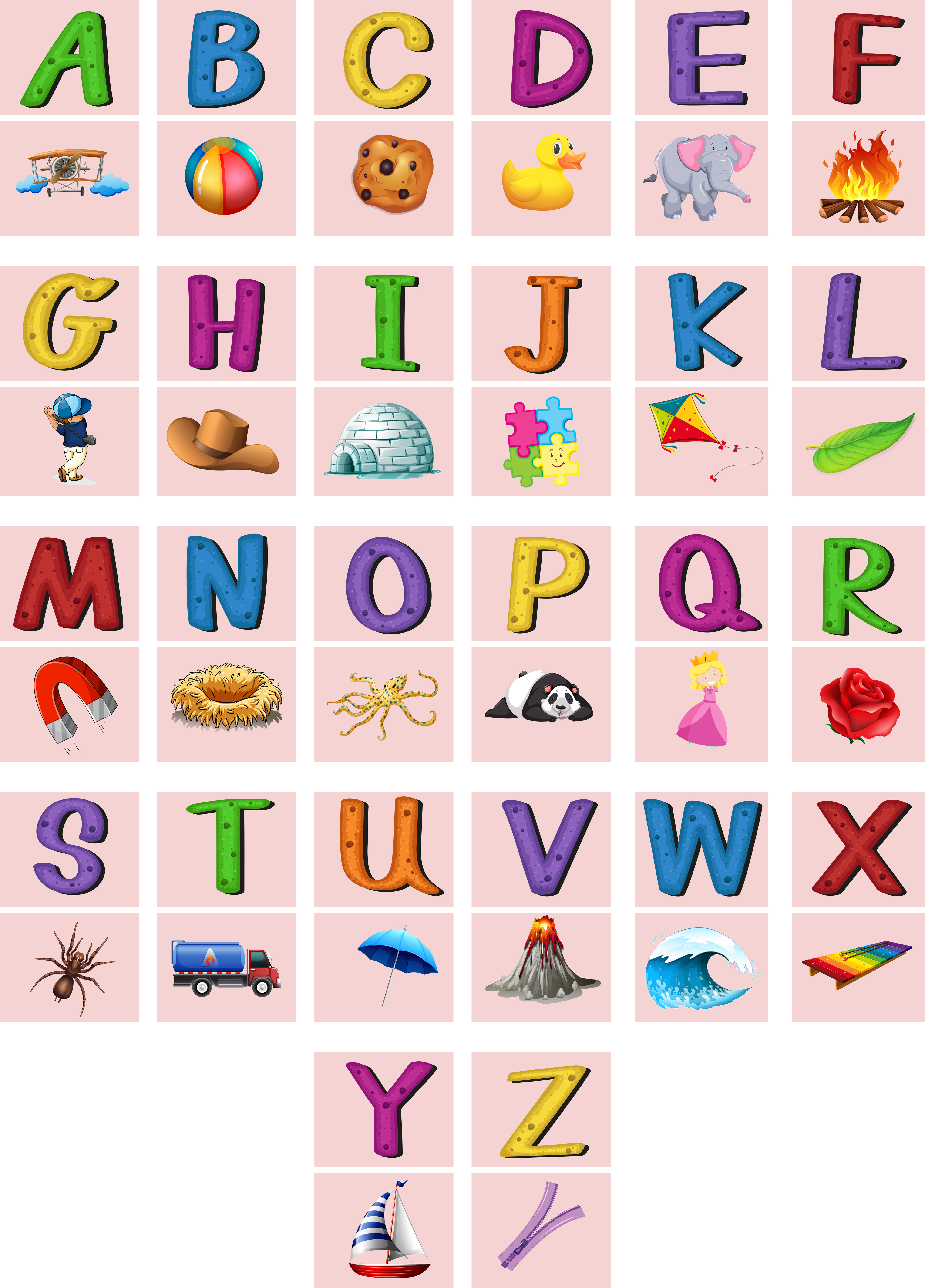English alphabets A to Z with pictures - Download Free Vectors, Clipart  Graphics & Vector Art