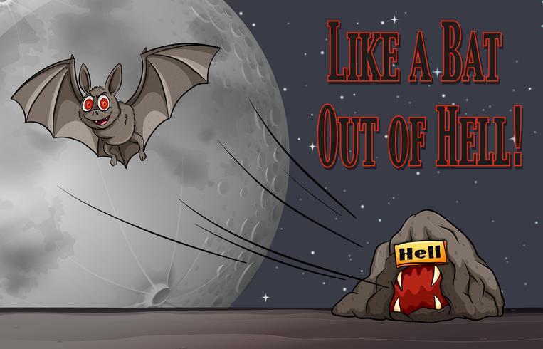 Frase en cartel para como un murciélago fuera del infierno