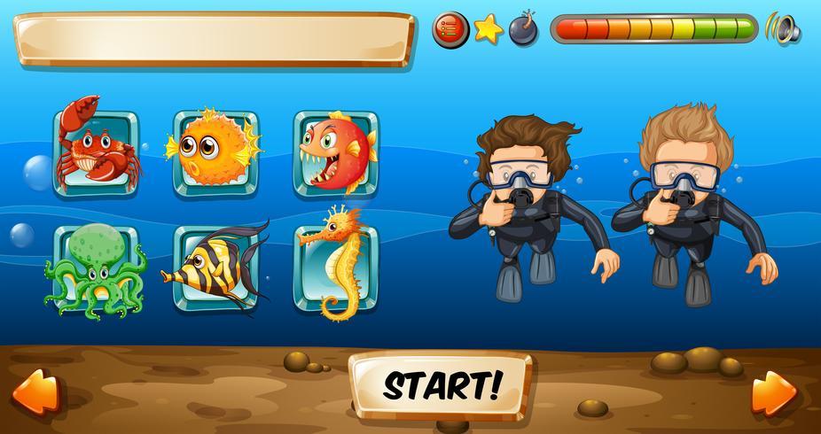 Modèle de jeu avec des plongeurs et des poissons
