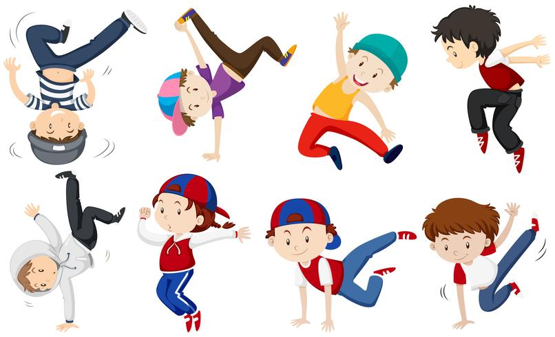 Chicos haciendo diferentes acciones de baile.