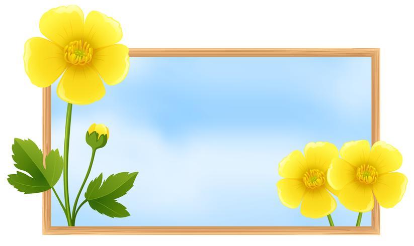 Plantilla de marco con flores de oro ranúnculo