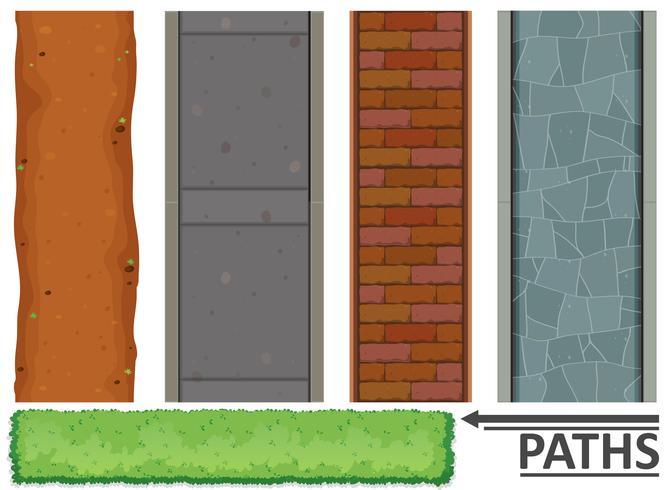 Variedade de caminhos e texturas