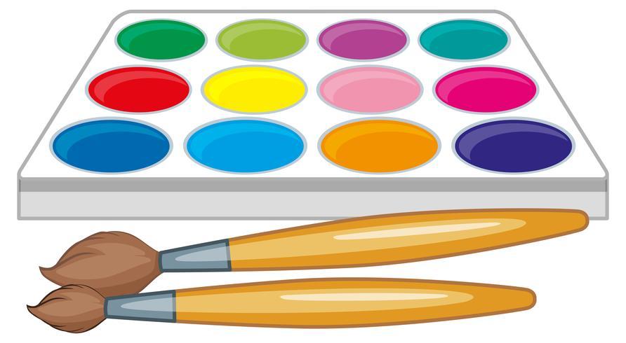 Palette d'aquarelle et deux pinceaux