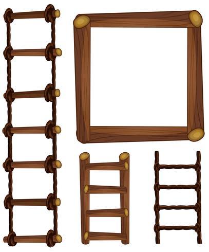 Escadas e moldura de madeira