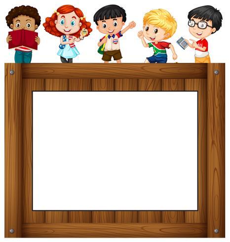 Children standing around the frame