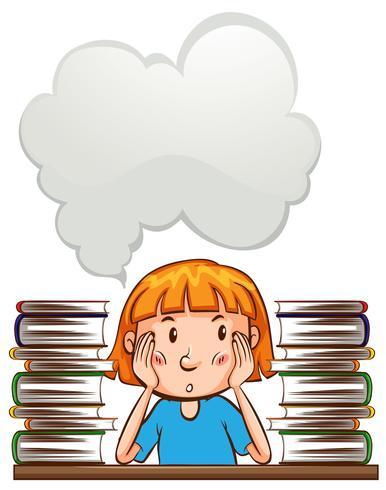 Talbubbelmall med tjej och böcker
