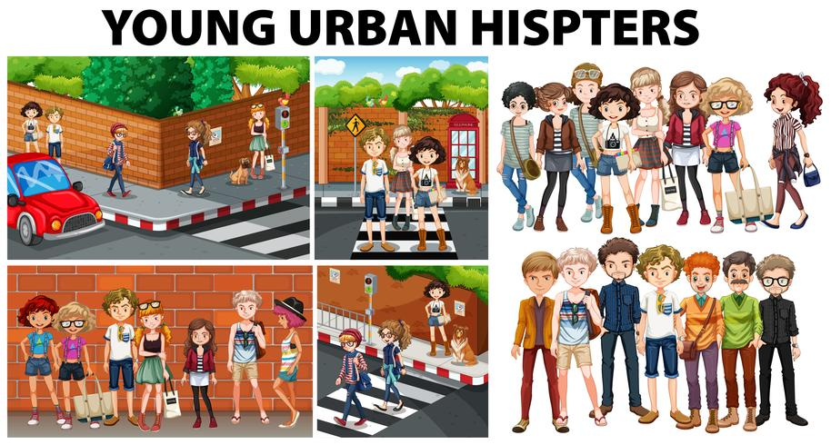 City scenes and young urban hipsters