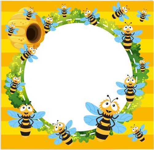 Gränsmall med många bin som flyger