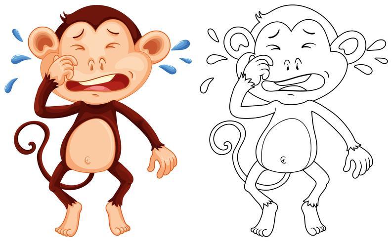 Contorno animal para macaco chorando